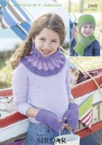 Sirdar Supersoft Aran - 2449 Scarf, Snood, Hat & Mittens Knitting Pattern